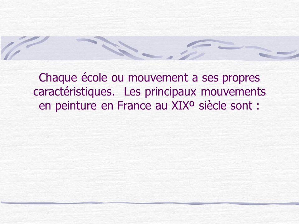 Chaque école ou mouvement a ses propres caractéristiques. Les principaux mouvements en peinture en France au XIXº siècle sont :