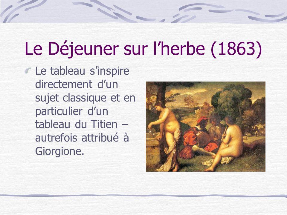 Le tableau sinspire directement dun sujet classique et en particulier dun tableau du Titien – autrefois attribué à Giorgione.