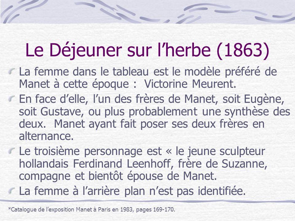 Le Déjeuner sur lherbe (1863) La femme dans le tableau est le modèle préféré de Manet à cette époque : Victorine Meurent. En face delle, lun des frère