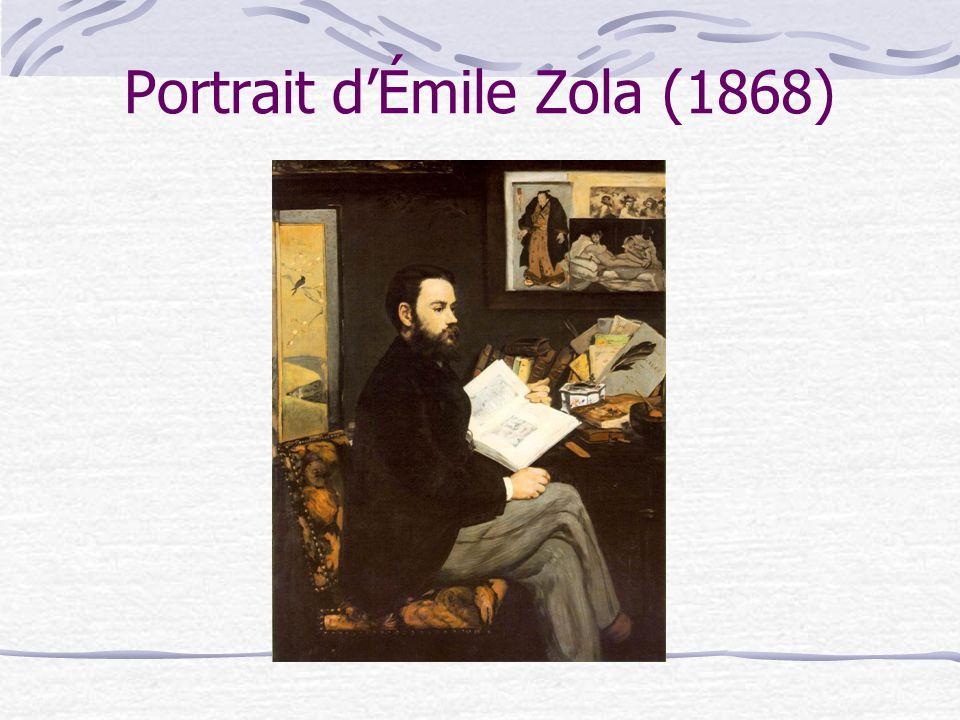 Cest un portrait posé qui met en scène de nombreux éléments liés directement à la vie de Manet bien plus encore quà celle de Zola.