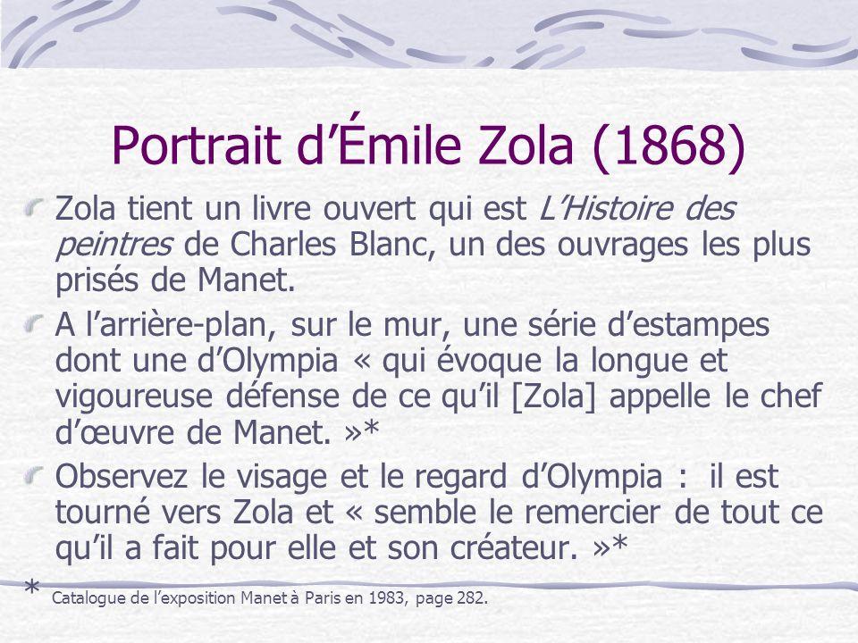 Portrait dÉmile Zola (1868) Zola tient un livre ouvert qui est LHistoire des peintres de Charles Blanc, un des ouvrages les plus prisés de Manet. A la