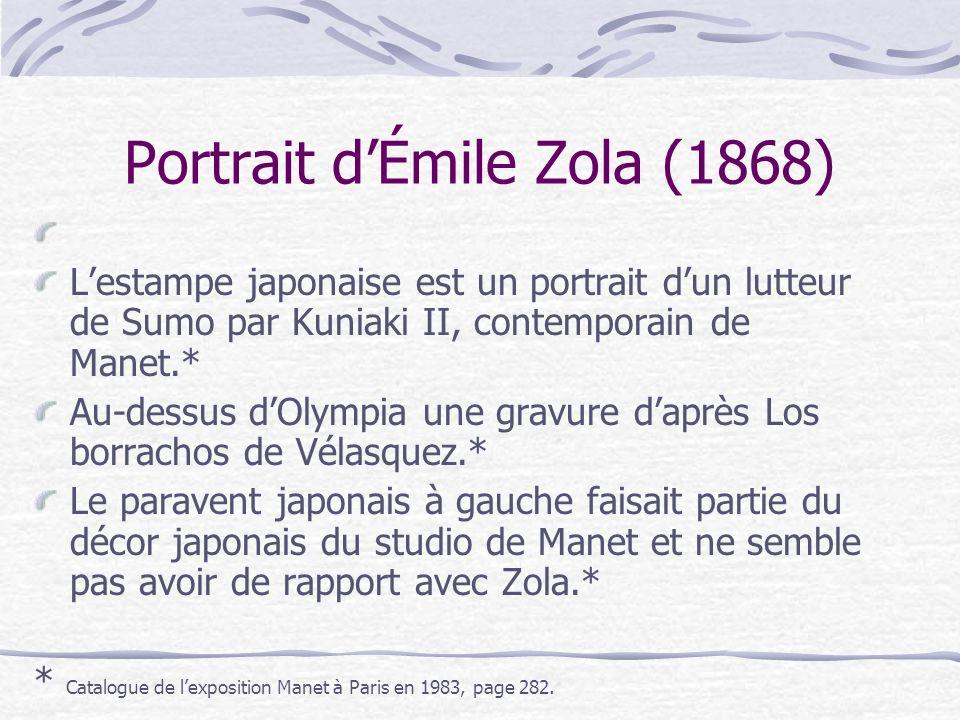 Portrait dÉmile Zola (1868) Lestampe japonaise est un portrait dun lutteur de Sumo par Kuniaki II, contemporain de Manet.* Au-dessus dOlympia une grav