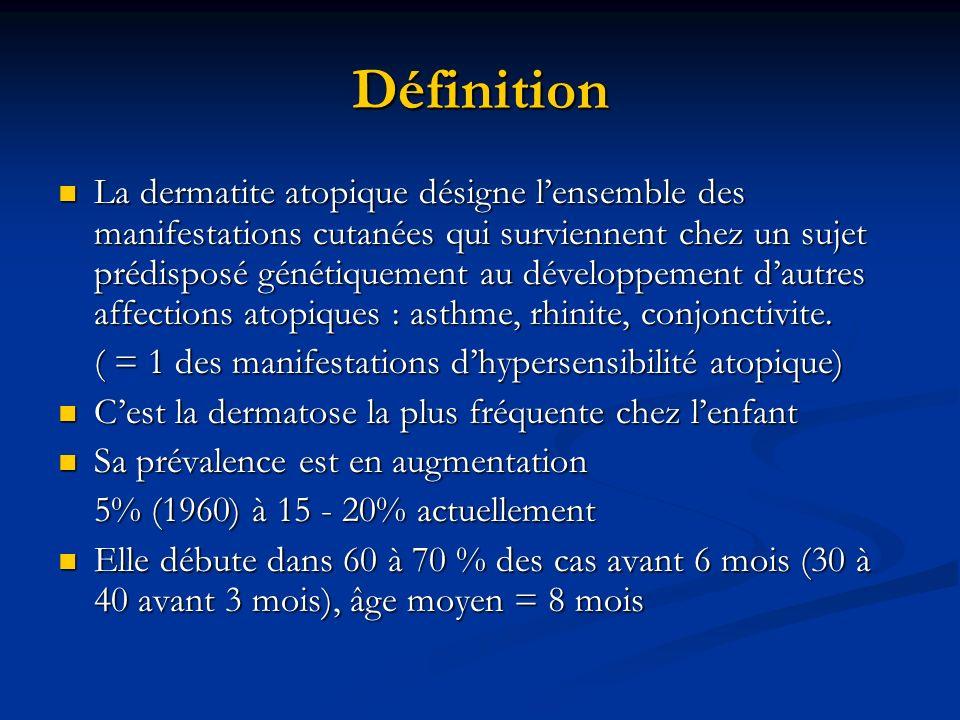Définition La dermatite atopique désigne lensemble des manifestations cutanées qui surviennent chez un sujet prédisposé génétiquement au développement