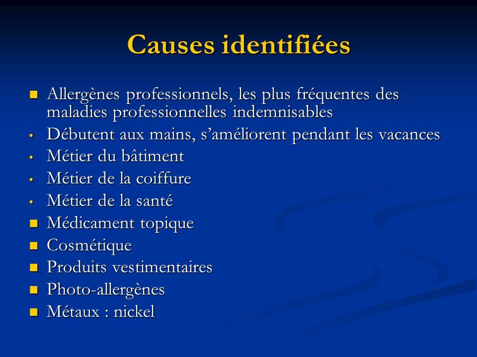 Causes identifiées Allergènes professionnels, les plus fréquentes des maladies professionnelles indemnisables Allergènes professionnels, les plus fréq
