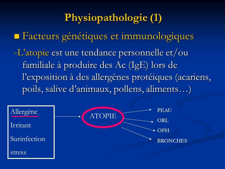 Physiopathologie (1) Facteurs génétiques et immunologiques Facteurs génétiques et immunologiques - Latopie est une tendance personnelle et/ou familial