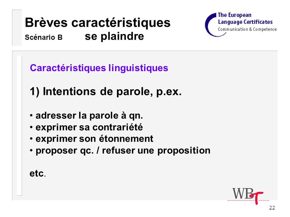 22 Brèves caractéristiques Scénario B se plaindre Caractéristiques linguistiques 1) Intentions de parole, p.ex.