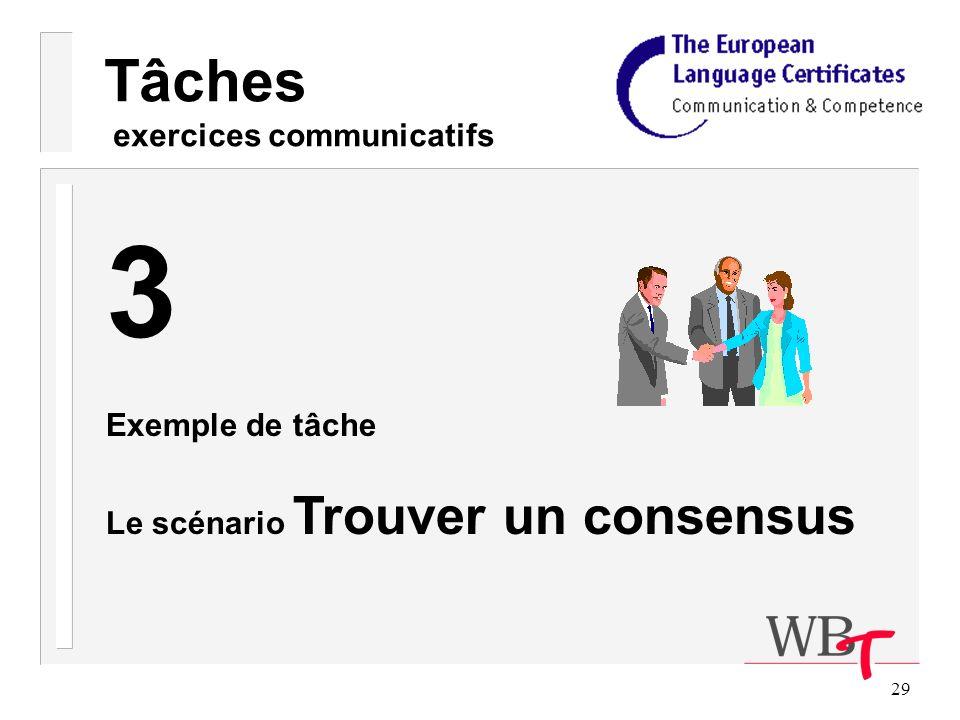 29 Tâches exercices communicatifs 3 Exemple de tâche Le scénario Trouver un consensus