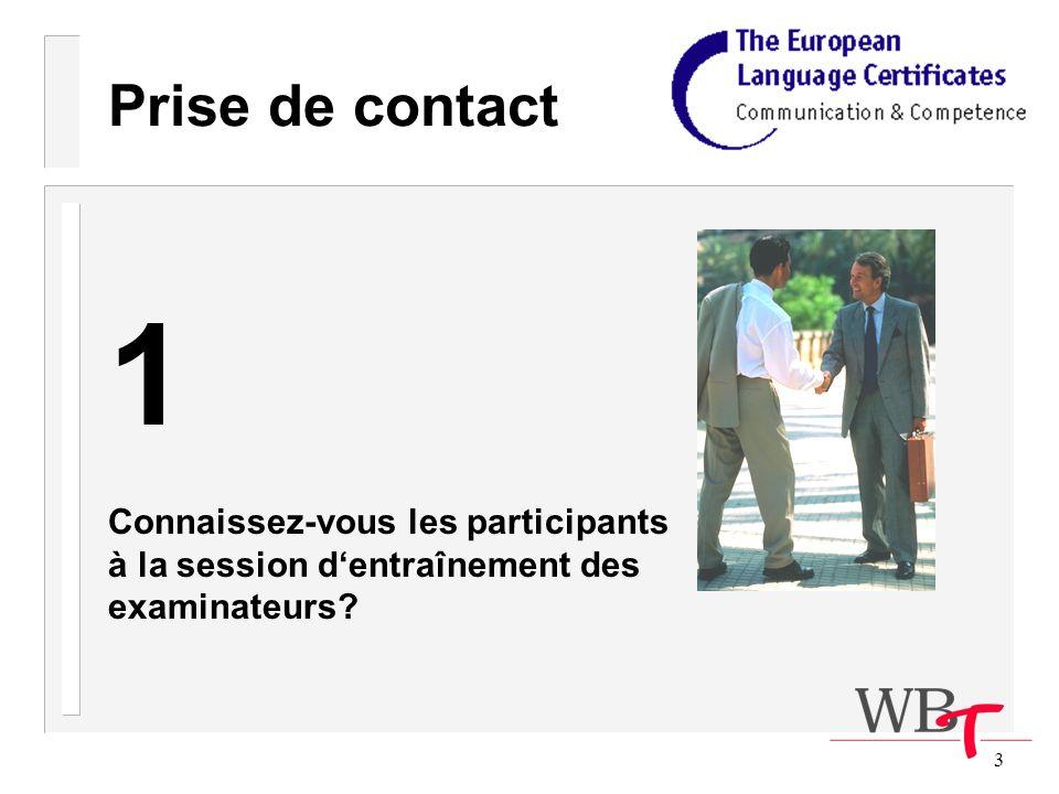 3 Prise de contact 1 Connaissez-vous les participants à la session dentraînement des examinateurs