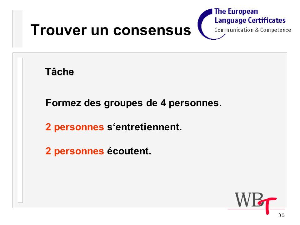 30 Trouver un consensus Formez des groupes de 4 personnes.