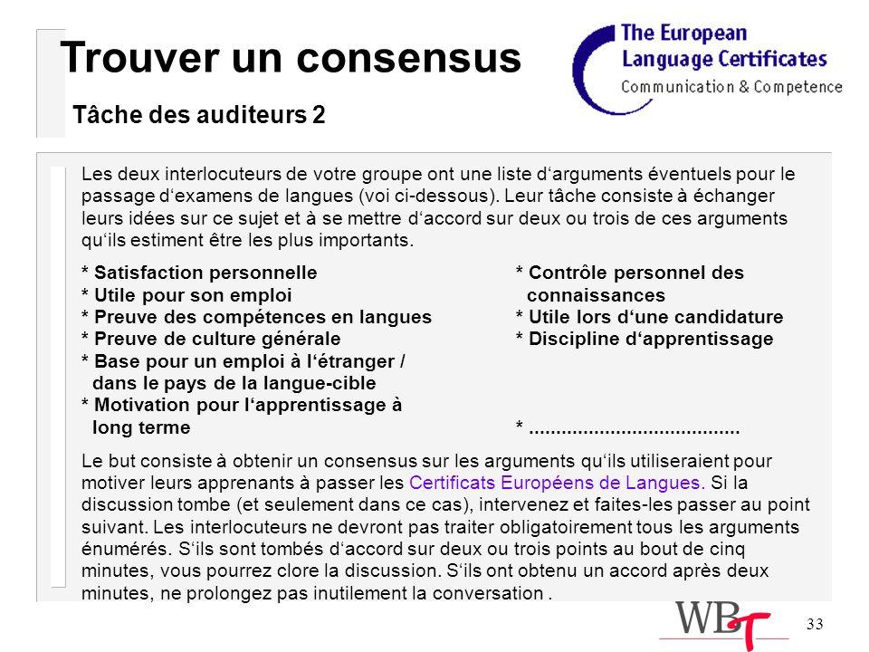 33 Les deux interlocuteurs de votre groupe ont une liste darguments éventuels pour le passage dexamens de langues (voi ci-dessous).