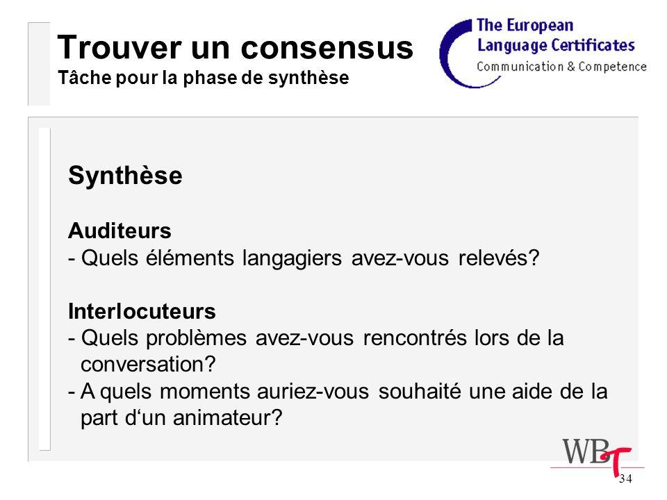 34 Trouver un consensus Tâche pour la phase de synthèse Synthèse Auditeurs - Quels éléments langagiers avez-vous relevés.