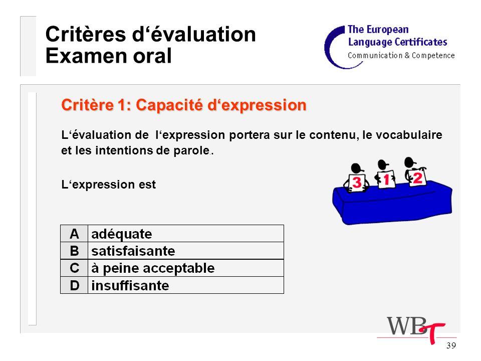 39 Critères dévaluation Examen oral Critère 1: Capacité dexpression Lévaluation de lexpression portera sur le contenu, le vocabulaire et les intentions de parole..