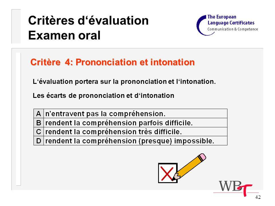 42 Critère 4: Prononciation et intonation Lévaluation portera sur la prononciation et lintonation.