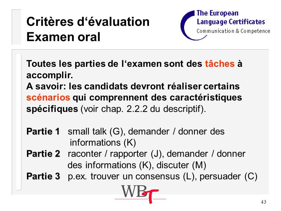 43 Critères dévaluation Examen oral Toutes les parties de lexamen sont des tâches à accomplir.