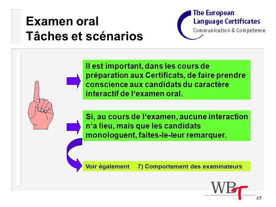 45 Examen oral Tâches et scénarios Il est important, dans les cours de préparation aux Certificats, de faire prendre conscience aux candidats du caractère interactif de lexamen oral.