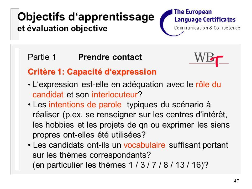 47 Objectifs dapprentissage et évaluation objective Critère 1: Capacité dexpression Lexpression est-elle en adéquation avec le rôle du candidat et son interlocuteur.