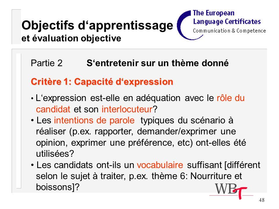 48 Objectifs dapprentissage et évaluation objective Critère 1: Capacité dexpression Lexpression est-elle en adéquation avec le rôle du candidat et son interlocuteur.