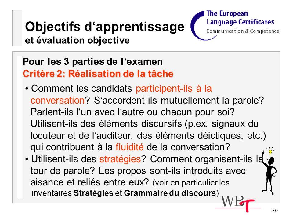 50 Objectifs dapprentissage et évaluation objective Critère 2: Réalisation de la tâche Comment les candidats participent-ils à la conversation.