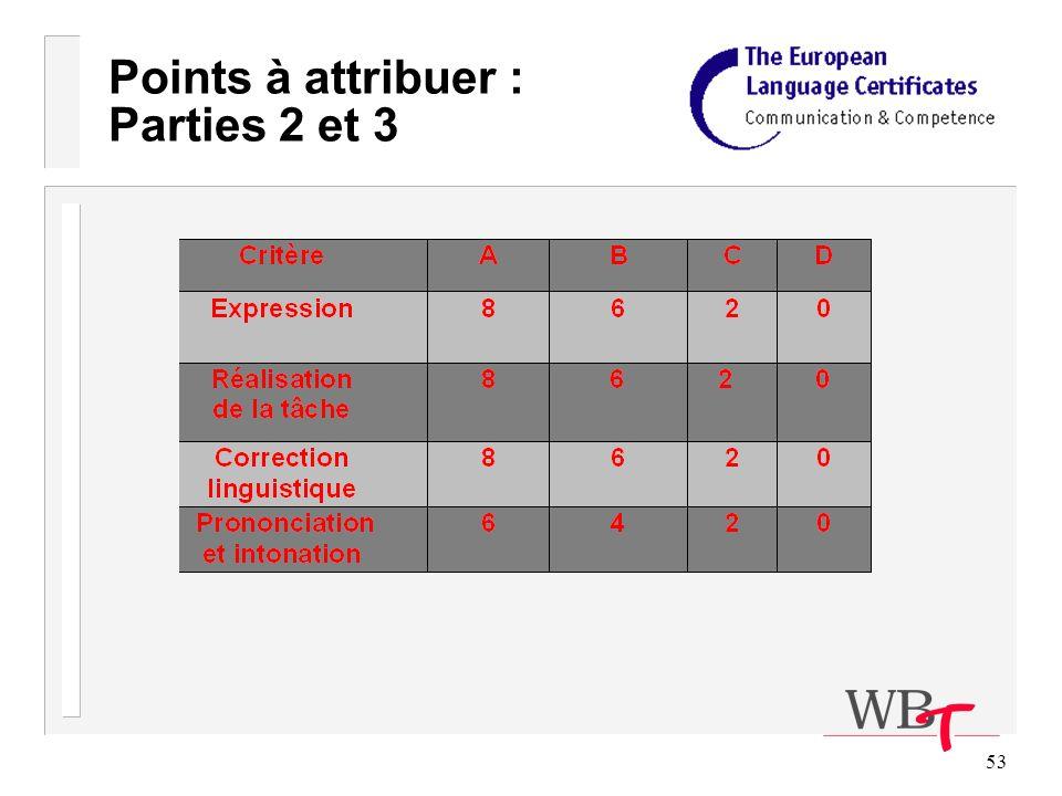 53 Points à attribuer : Parties 2 et 3