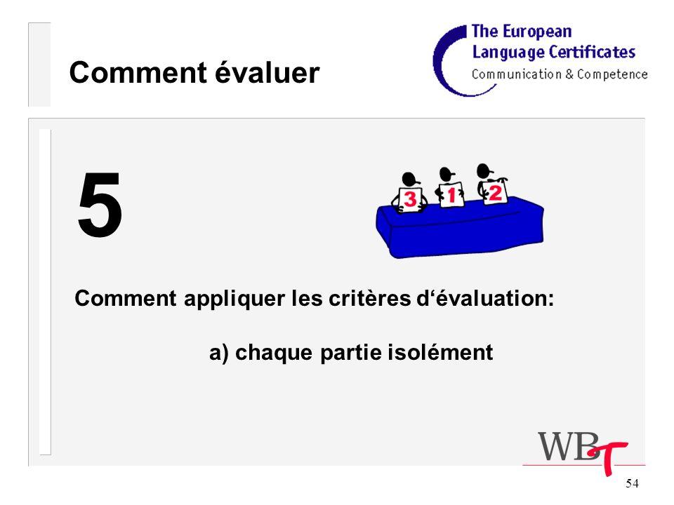54 Comment évaluer 5 Comment appliquer les critères dévaluation: a) chaque partie isolément