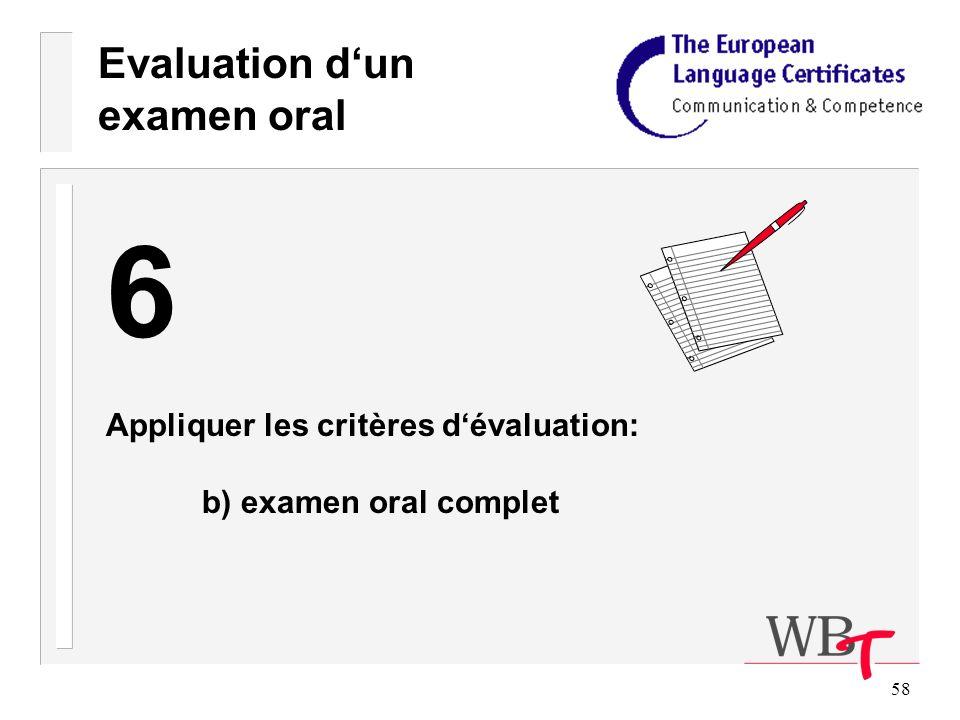 58 Evaluation dun examen oral 6 Appliquer les critères dévaluation: b) examen oral complet