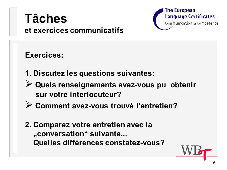 6 Tâches et exercices communicatifs Exercices: 1.