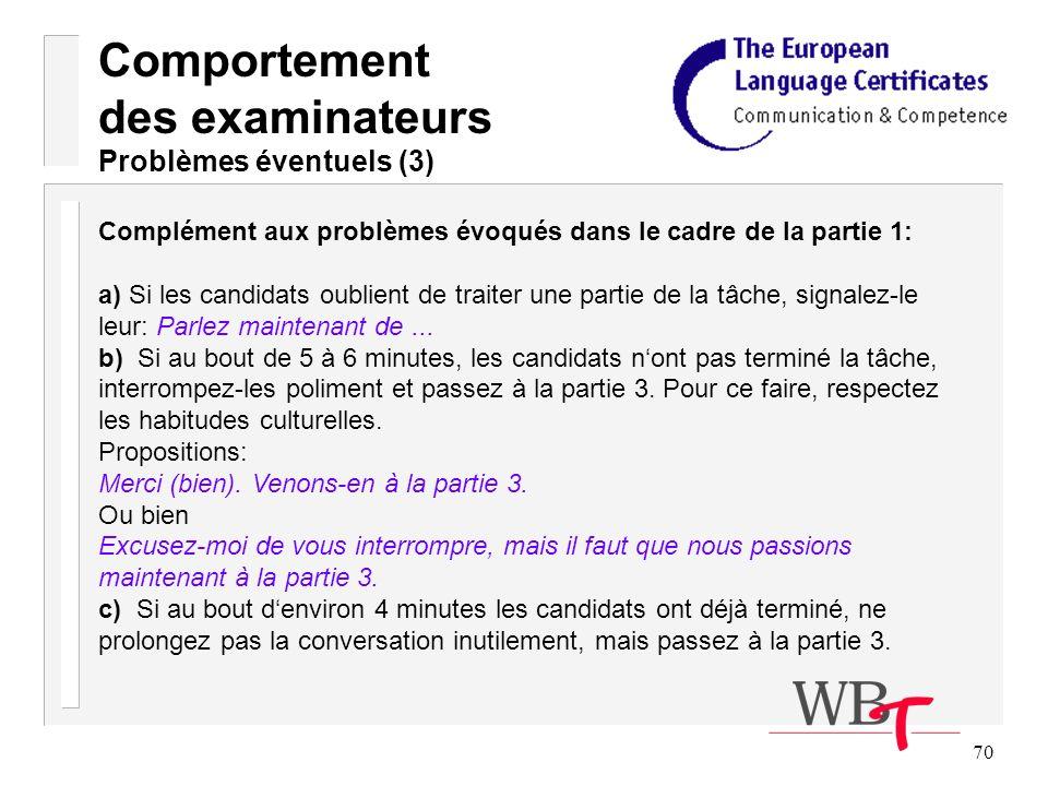 70 Complément aux problèmes évoqués dans le cadre de la partie 1: a) Si les candidats oublient de traiter une partie de la tâche, signalez-le leur: Parlez maintenant de...