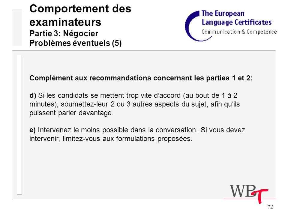 72 Comportement des examinateurs Partie 3: Négocier Problèmes éventuels (5) Complément aux recommandations concernant les parties 1 et 2: d) Si les candidats se mettent trop vite daccord (au bout de 1 à 2 minutes), soumettez-leur 2 ou 3 autres aspects du sujet, afin quils puissent parler davantage.