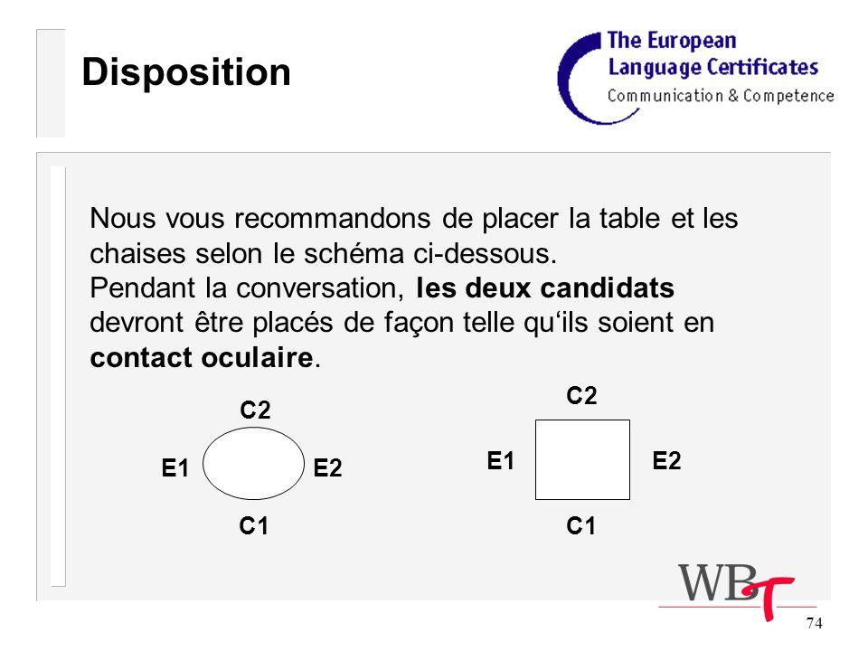 74 Disposition Nous vous recommandons de placer la table et les chaises selon le schéma ci-dessous.