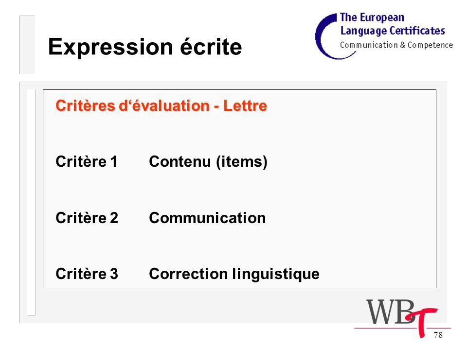 78 Expression écrite Critères dévaluation - Lettre Critère 1Contenu (items) Critère 2Communication Critère 3Correction linguistique