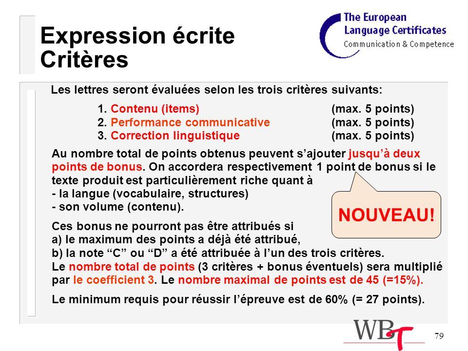 79 Expression écrite Critères Les lettres seront évaluées selon les trois critères suivants: 1.