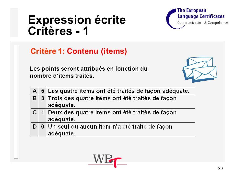 80 Expression écrite Critères - 1 Critère 1: Critère 1: Contenu (items) Les points seront attribués en fonction du nombre ditems traités.