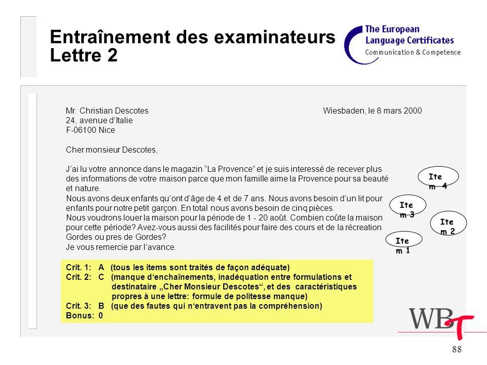 88 Entraînement des examinateurs Lettre 2 Mr.