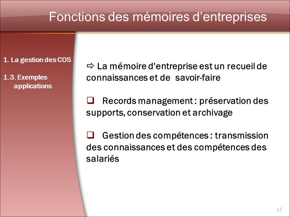 13 Fonctions des mémoires dentreprises La mémoire d'entreprise est un recueil de connaissances et de savoir-faire Records management : préservation de