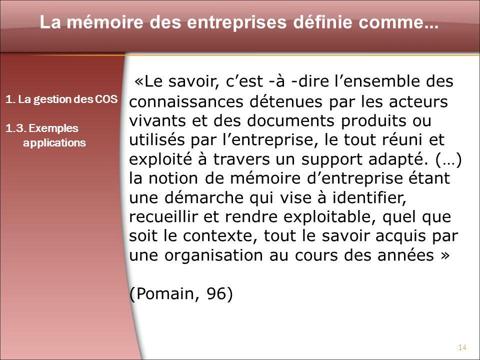 14 La mémoire des entreprises définie comme... «Le savoir, cest -à -dire lensemble des connaissances détenues par les acteurs vivants et des documents