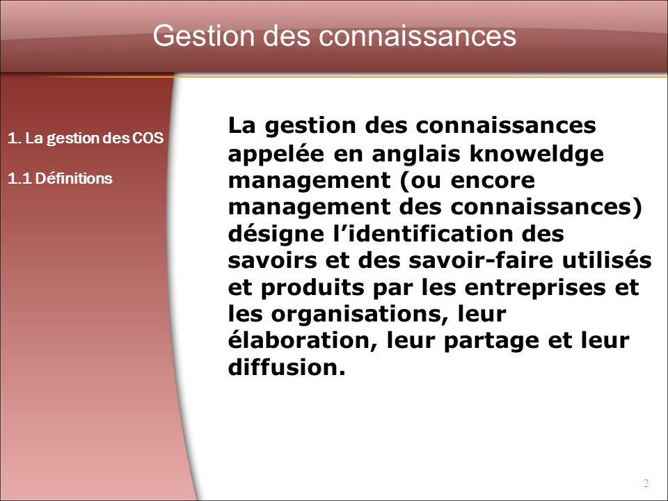 2 Gestion des connaissances La gestion des connaissances appelée en anglais knoweldge management (ou encore management des connaissances) désigne lide
