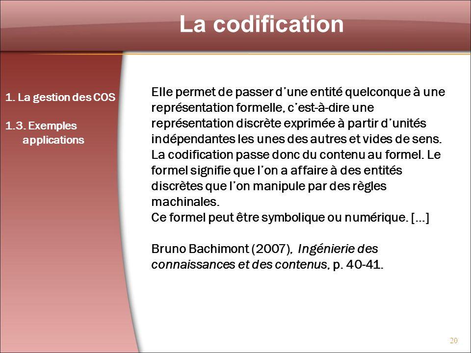20 La codification 1. La gestion des COS 1.3. Exemples applications Elle permet de passer dune entité quelconque à une représentation formelle, cest-à