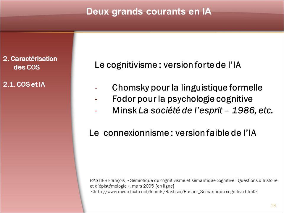 23 Deux grands courants en IA 2. Caractérisation des COS 2.1. COS et IA Le cognitivisme : version forte de lIA -Chomsky pour la linguistique formelle