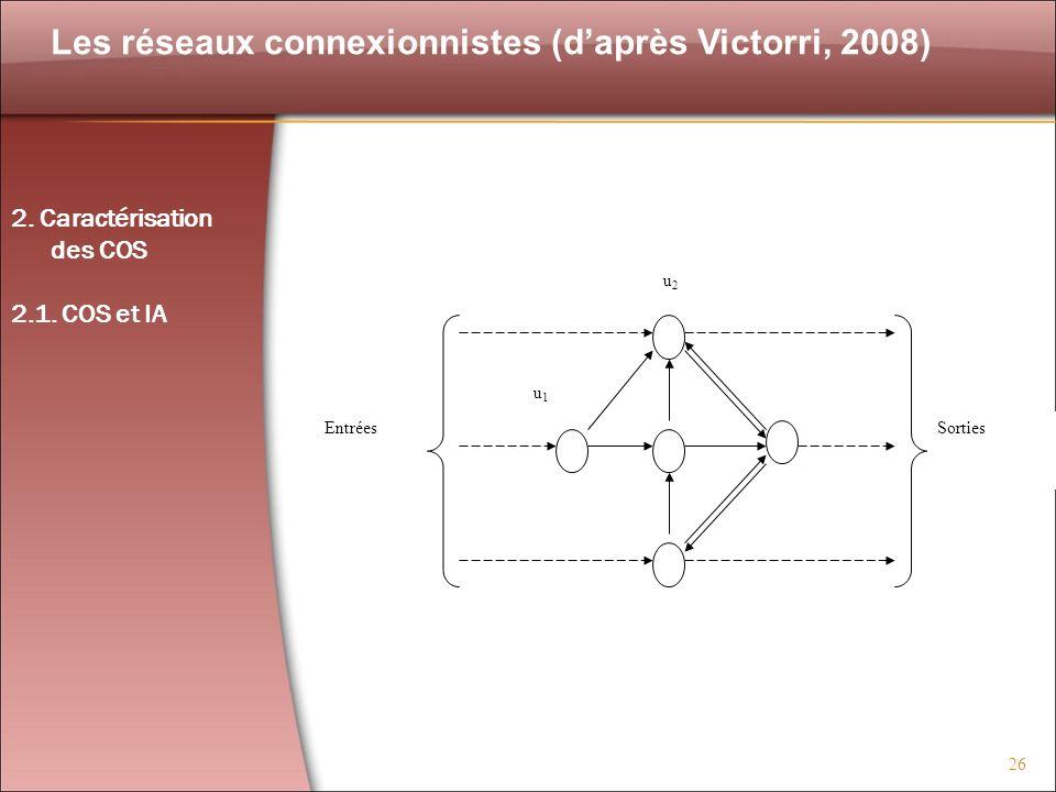 26 Les réseaux connexionnistes (daprès Victorri, 2008) u2u2 Entrées u5u5 u4u4 u3u3 u1u1 Sorties 2. Caractérisation des COS 2.1. COS et IA