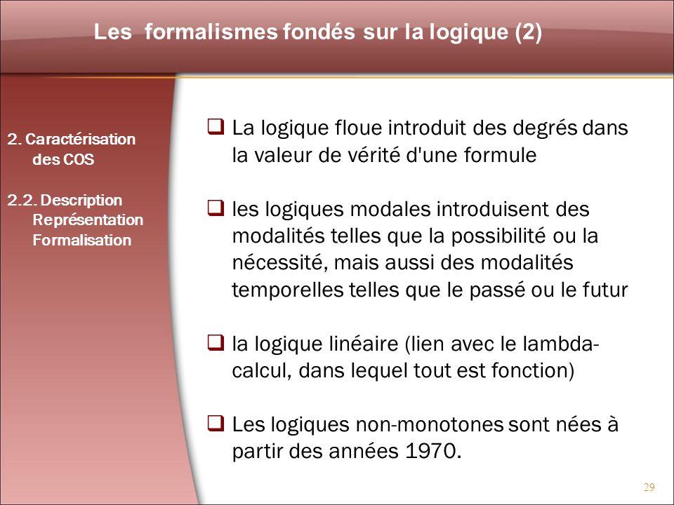 29 Les formalismes fondés sur la logique (2) La logique floue introduit des degrés dans la valeur de vérité d'une formule les logiques modales introdu