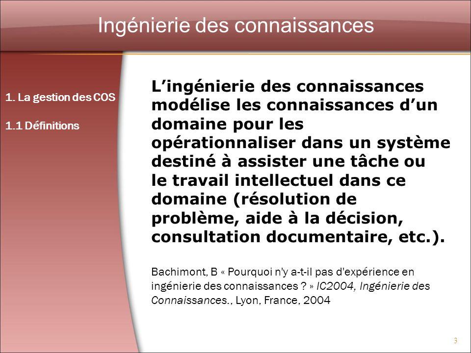 24 Le cognitivisme 2.Caractérisation des COS 2.1.
