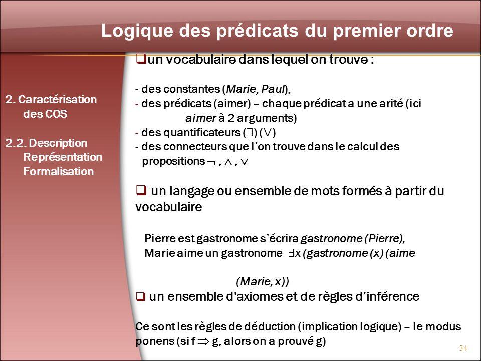 34 Logique des prédicats du premier ordre un vocabulaire dans lequel on trouve : - des constantes (Marie, Paul), - des prédicats (aimer) – chaque préd
