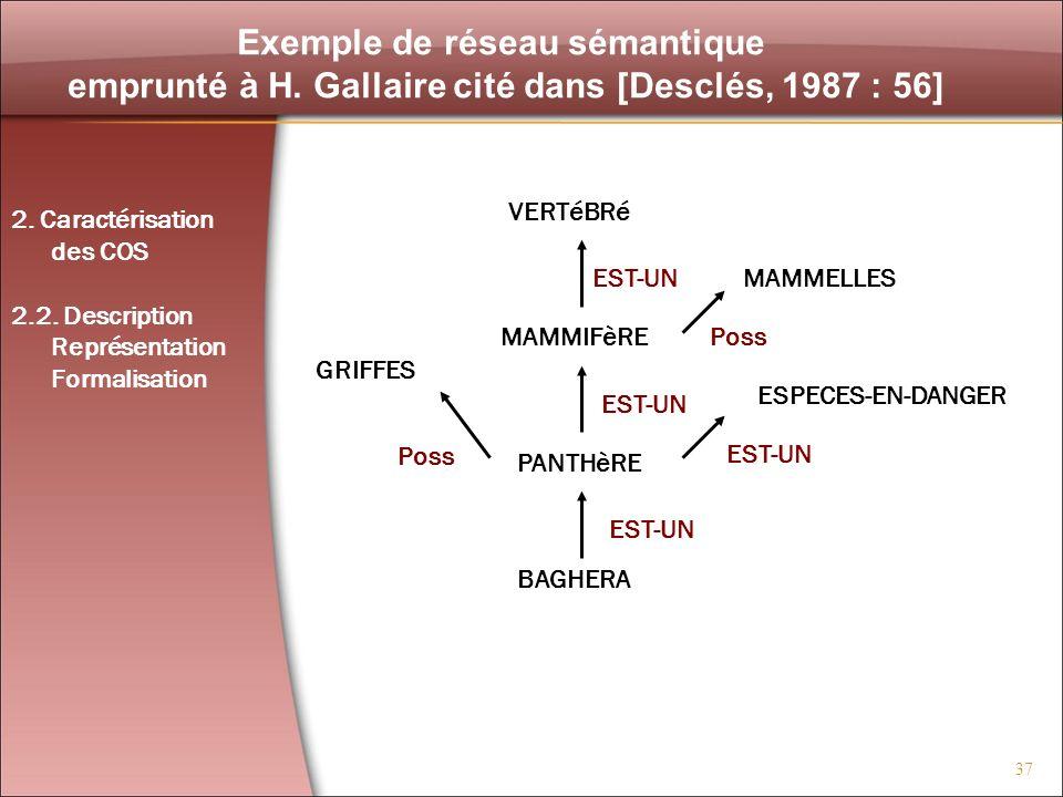 37 Exemple de réseau sémantique emprunté à H. Gallaire cité dans [Desclés, 1987 : 56] VERTéBRé GRIFFES ESPECES-EN-DANGER MAMMELLES MAMMIFèRE PANTHèRE