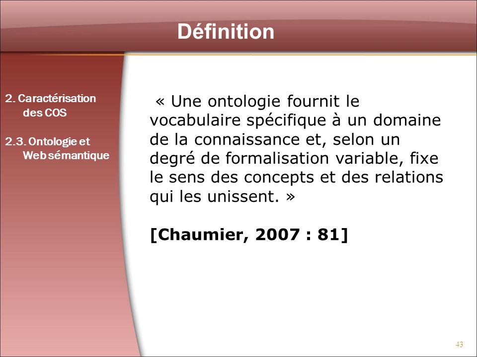 43 Définition Figure 1 : Exemple de réseau « Une ontologie fournit le vocabulaire spécifique à un domaine de la connaissance et, selon un degré de for