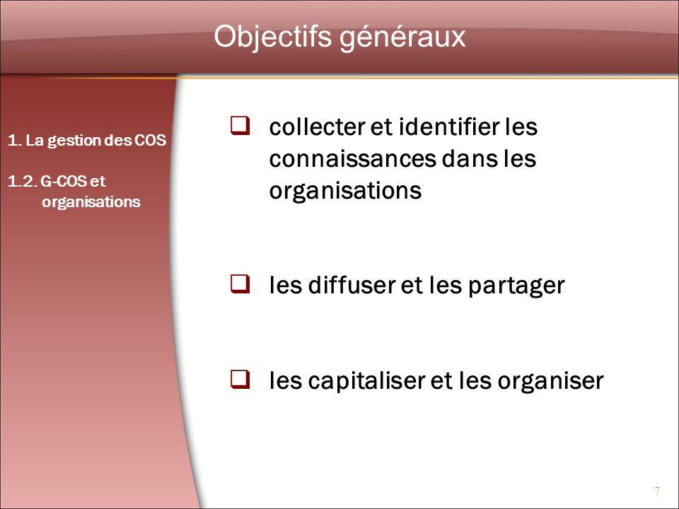 7 Objectifs généraux collecter et identifier les connaissances dans les organisations les diffuser et les partager les capitaliser et les organiser 1.