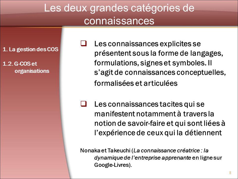 8 Les deux grandes catégories de connaissances Les connaissances explicites se présentent sous la forme de langages, formulations, signes et symboles.