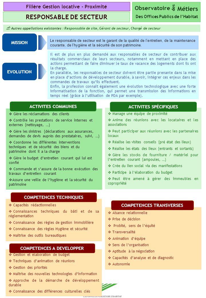 Copyright Groupe BPI Autres appellations existantes : Responsable de site, Gérant de secteur, Chargé de secteur Le responsable de secteur est le garan