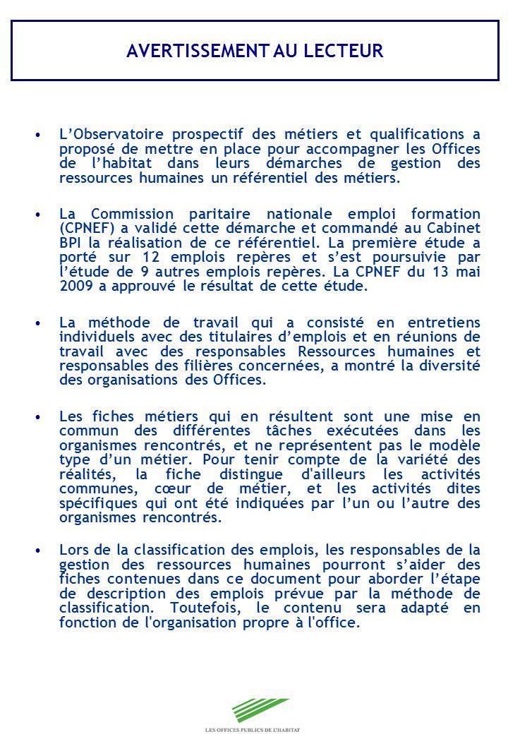 Copyright Groupe BPI Fiches emploi Filière Développement du patrimoine et Maîtrise douvrage – Maintenance du patrimoine