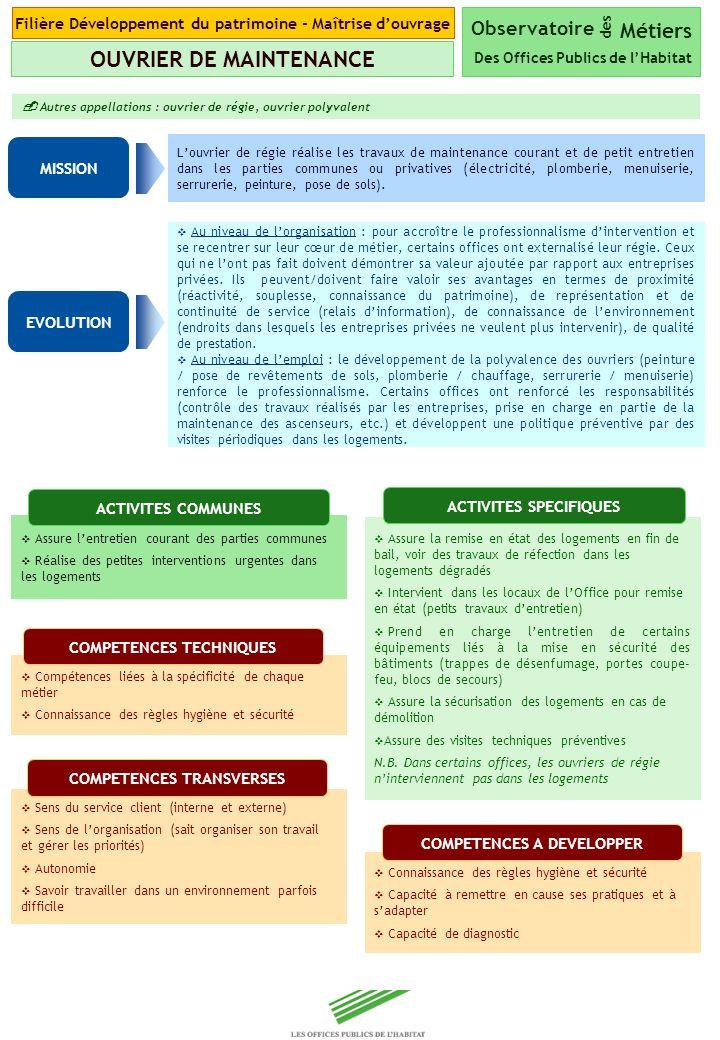 Copyright Groupe BPI Louvrier de régie réalise les travaux de maintenance courant et de petit entretien dans les parties communes ou privatives (élect