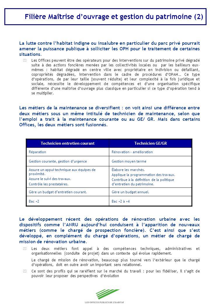 Copyright Groupe BPI Filière Maîtrise douvrage et gestion du patrimoine (2) La lutte contre lhabitat indigne ou insalubre en particulier du parc privé